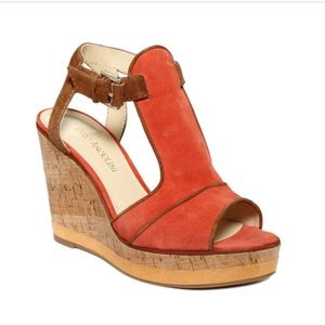 Enzo Angiolini Gesso Orange Wedge Heel Sandals